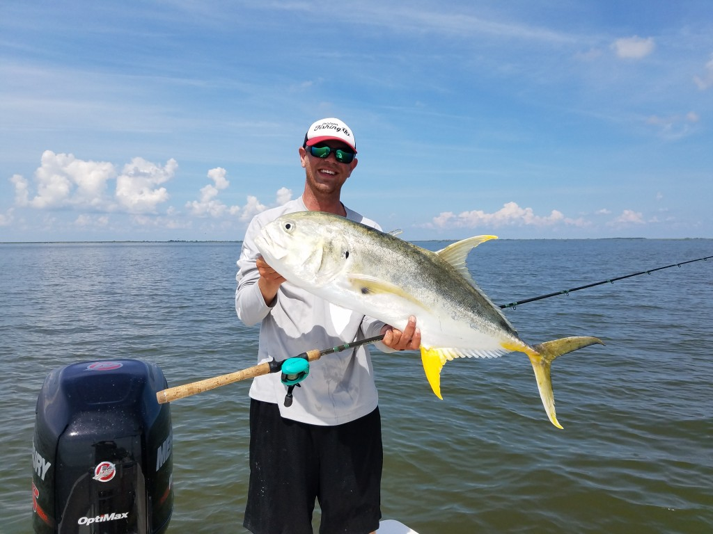 Huge Jack Fishing in louisana with clearwater beach fishing guide Capt.Jared