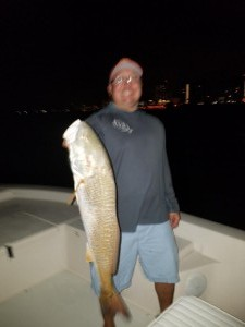 Capt jared clearwater beach charter fishing trip redfish at night
