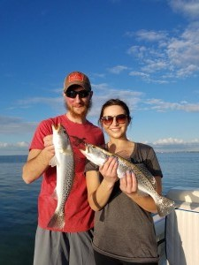 Double trout caught while on a fishing charter in Tarpon Springs